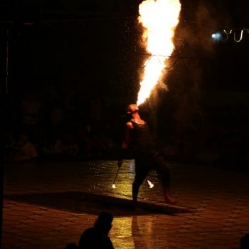 Fire performance during safari tour